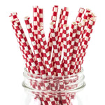 UNIQ® Red Checkered Paper Straws
