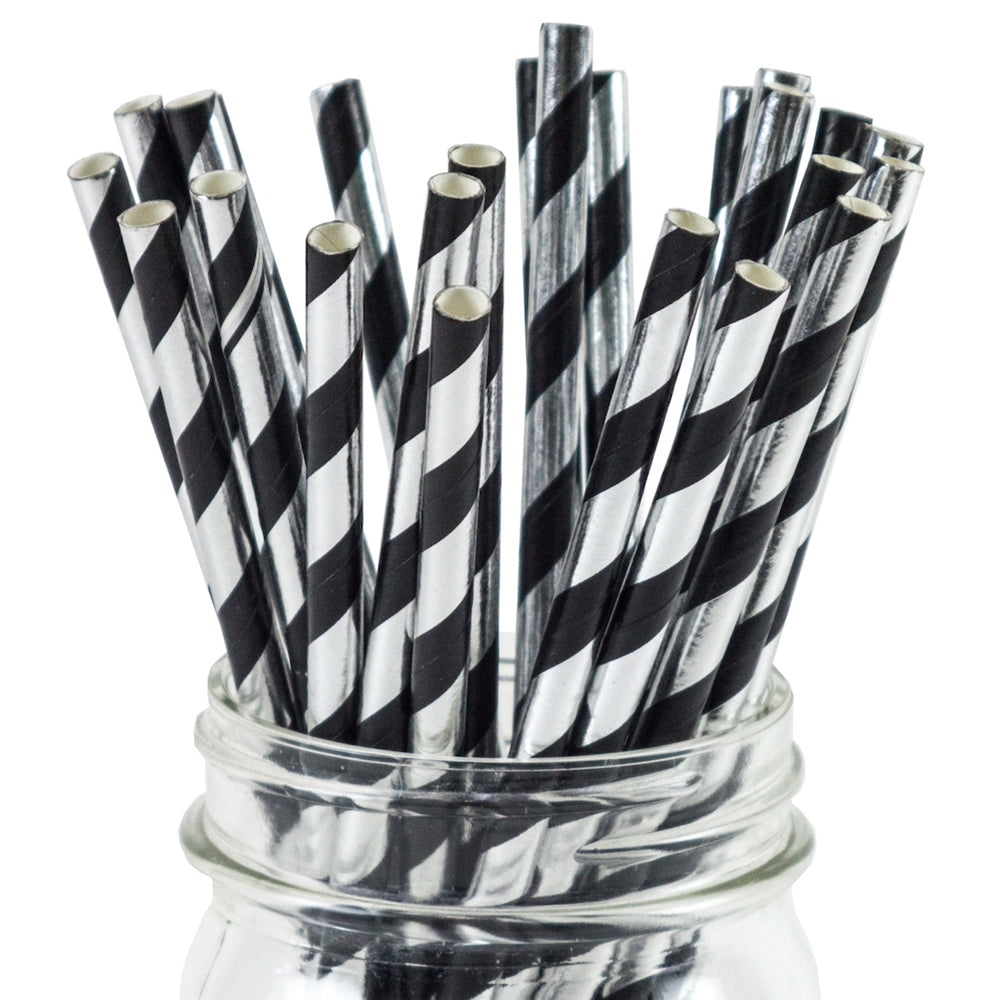 UNIQ Black and Silver Striped Paper Straws