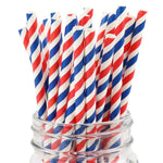 UNIQ® Red and Blue Striped Paper Straws