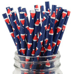UNIQ® Blue with Santa Hat Paper Straws