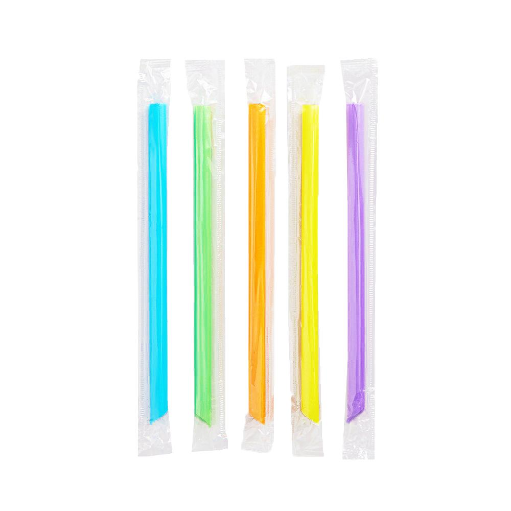 "7 3/4"" Neon Pointed Wrapped Boba Straws"