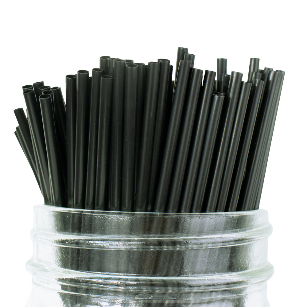 "Hot Cup 7.5"" Black Unwrapped Coffee Stirrers / Straws - Case of 1,000"
