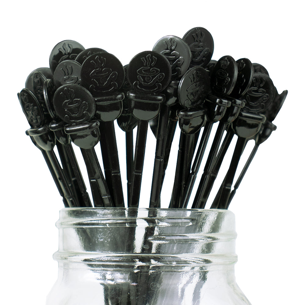 "Hot Cup 7.5"" Black Beverage Plug and Stirrer"