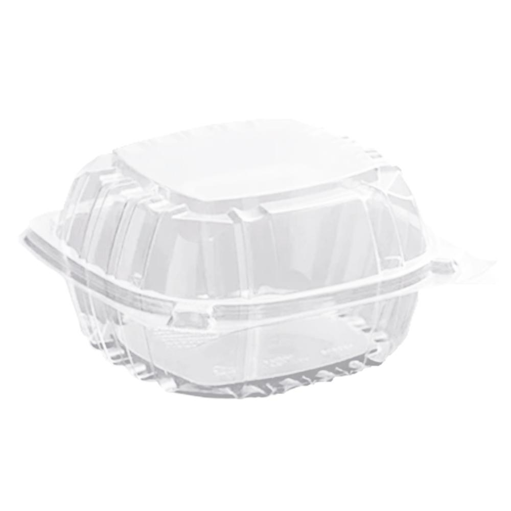 "5 3/8"" x 5 1/4"" x 2 5/8"" - Plastic Clamshell Take Out Container"
