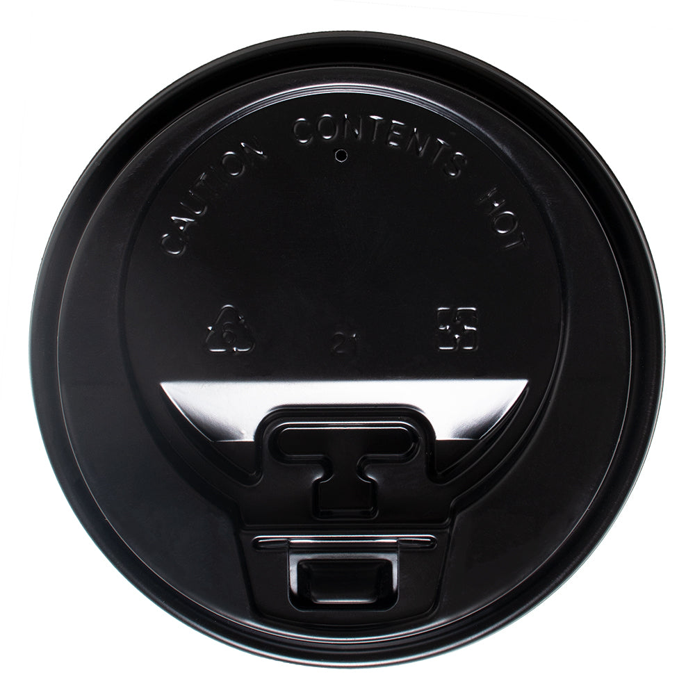 UNIQ® Black Flip Top Hot Paper Cup Lids - 8 oz