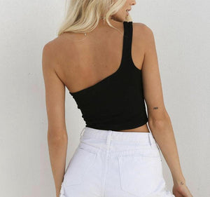 One Shoulder Crop Tops-store-nir