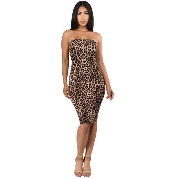 Leopard Print Off Shoulder Midi Dress-store-nir