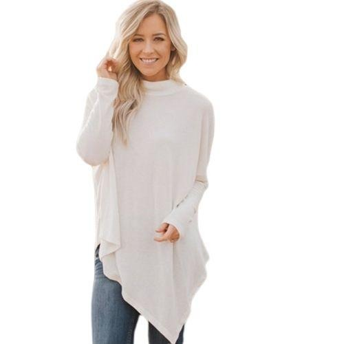 Asymmetrical Hem White Soft Faux Poncho High Neck-store-nir