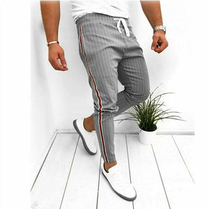 Ankle-Length Elastic Strap Striped Pants-store-nir