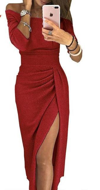 Party dress with slit-store-nir
