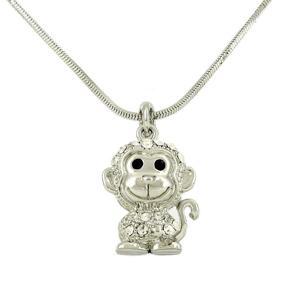 Crystal Monkey Charm Pendant Necklace-store-nir