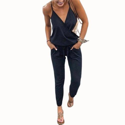 V Neck Wrap Jumpsuit With Pocket-store-nir
