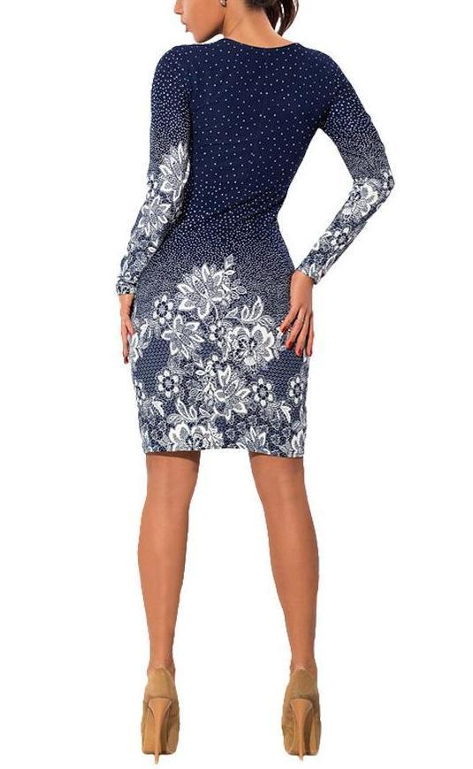 Long Sleeve Dot Print Dress-store-nir