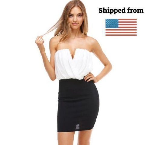 Ivory Top/Black Bottom Dress-store-nir