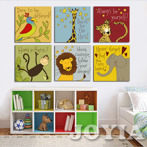 Canvas Painting 6 Pieces Modern Cartoon Animal Quotes Wall Pictures For  Kids Bedroom Baby Room Wall