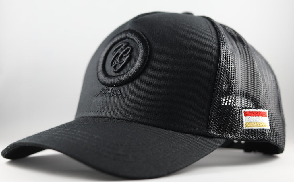 Side Shot of All Black Hat | 3D 'F&G Embroidered Front | Fun & Games Flag Left Side