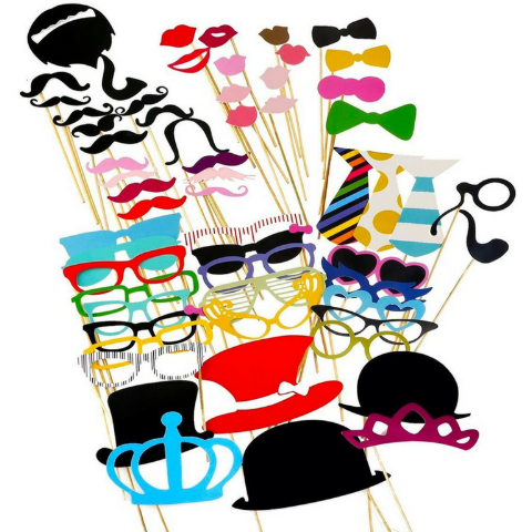 Photo Booth Props 60 piece DIY Kit for Wedding, Party or Birthday - Weebumz
