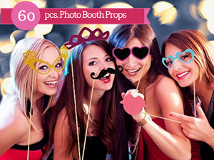 Photo Booth Props 60 piece DIY Kit for Wedding, Party or Birthday
