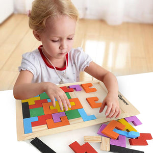 Colorful Wooden Tangram Brain Teaser Puzzle Toy. Tetris Game for Preschool Imaginations. Intellectual Educational Kids Toy for a  Gift - Weebumz