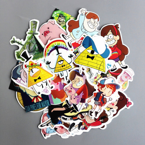 Laptop Luggage Skateboard Motorcycle Decal Sticker - (25Pcs/lot) Funny Anime Gravity Falls Sticker For Car