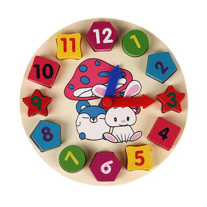 Wooden 12 Number Clock Toy Baby Colorful Puzzle. Learn Geometry & Numbers. Educational Toy for Kids/Children