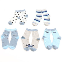 5 Pairs/lot Spring and Autumn Pure Cotton Children Socks Stripe Stars Boy's with Cartoons. - Weebumz