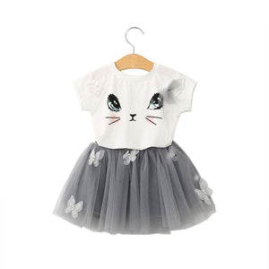 Girl Cats Butterfly Puffing Yarn Skirt Set Kids Girls Cat Pattern Shirt Top Butterfly Tutu Skirt Set Clothing - Weebumz