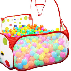 Kids Play Tent Hexagon Polka Dot Ball Pit -  Shoot Basketball Basket - Weebumz