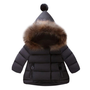 Baby Girls Boys Winter Jacket Kids Warm Outerwear Plus Cotton Jacket Fashion Winter Coat Children's Clothing Hoodies with Ball - Weebumz