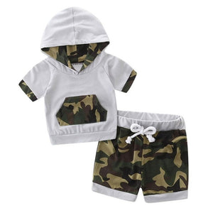 Modern 2017 Toddler Baby Boy Clothes Hooded Camouflage Splice Tracksuit Tops Shorts Set Baby Boy Summer Clothes Vetement Garcon - Weebumz