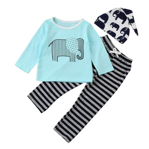 Baby Clothes - Children Clothing Sets. Newborn Cotton Animal Striped Printed Long Sleeved T-shirt - 3pcs suit - Weebumz