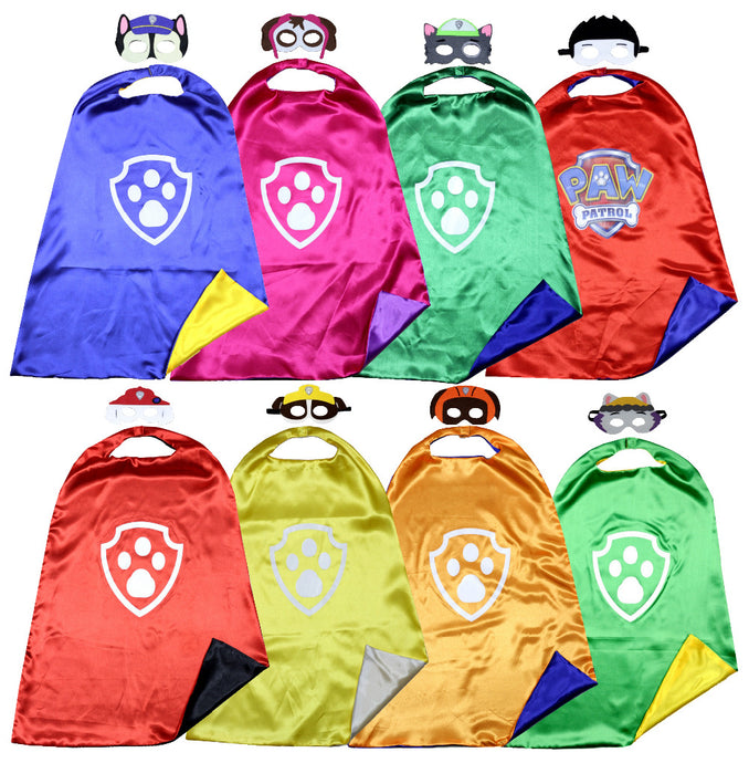 Kids Costume Paw Patrol Cape Birthday Party - Cape and Mask Set - Chase, Rocky, Zuma, Marshall, Skye, - Weebumz