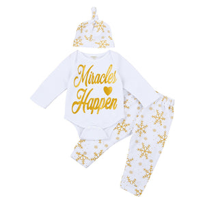 2017 Newborn Baby Boys Girls Clothes Tops Romper Pants Leggings Hat Outfits 3PCS Set - Weebumz