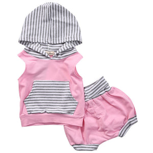 Newborn Baby Girl Striped Tops Hooded Vest Sleeveless Shorts Outfits Clothes - Weebumz