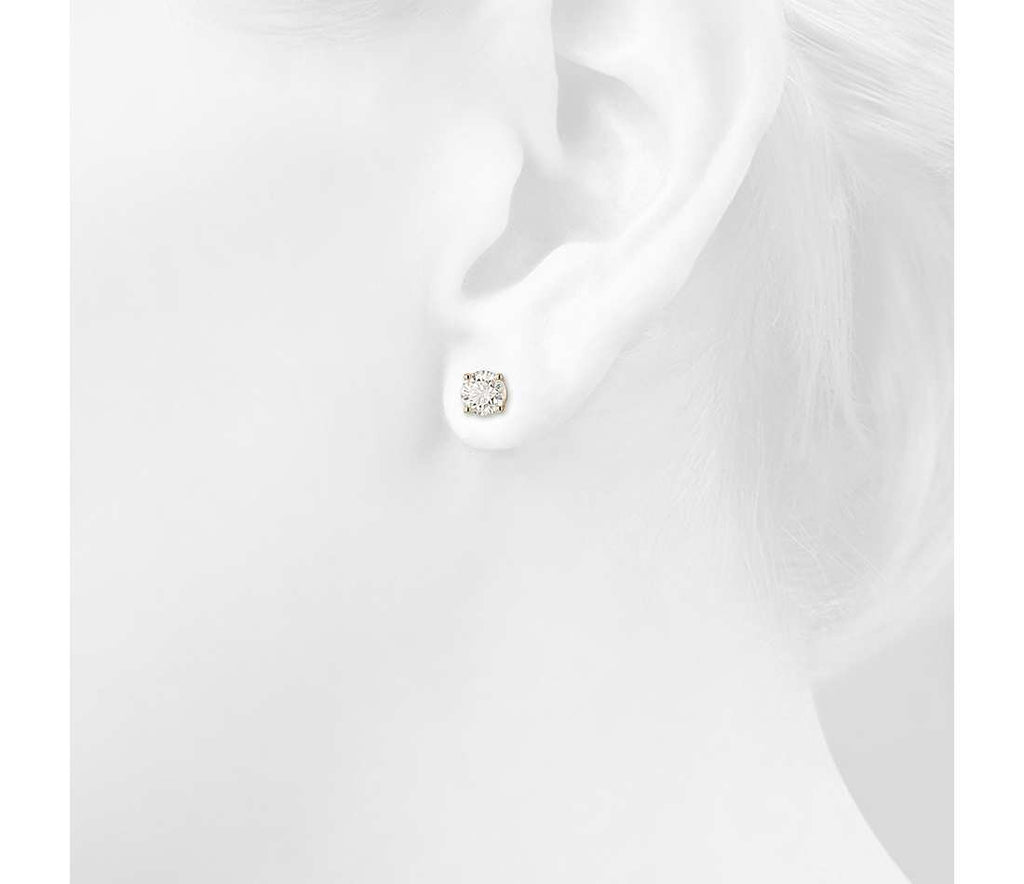 Diamond Stud Earrings - Round 14k Yellow Gold (.25 - 2ct tw)