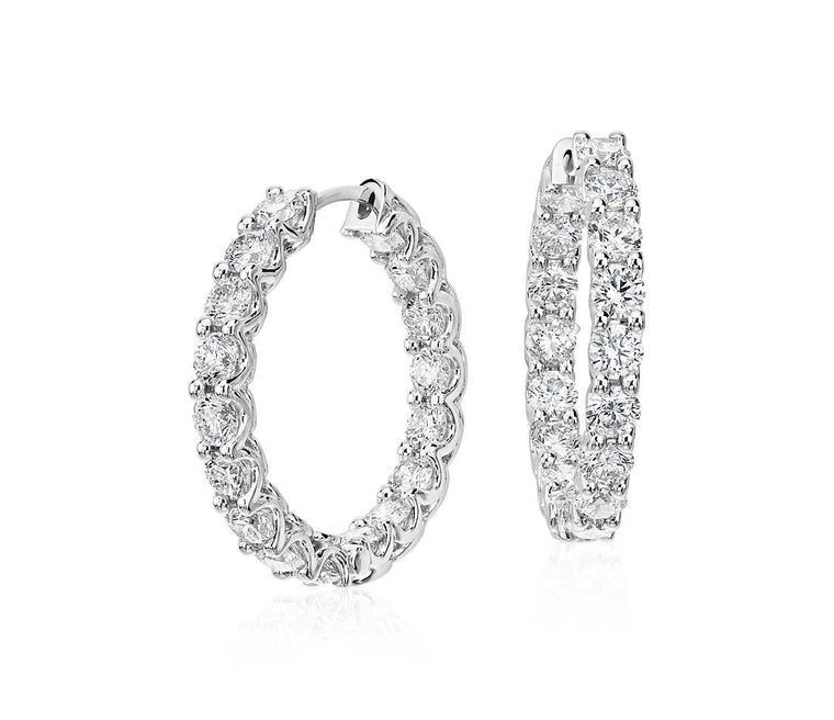 Classic Diamond Hoops - Round (5 ct tw)
