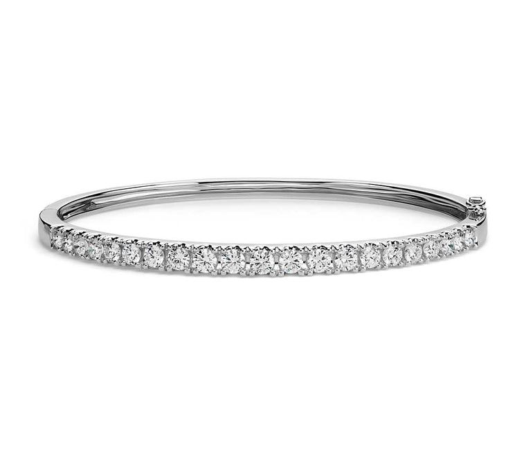 Diamond Bracelet - Bangle Round 14k White Gold (2.5 ct tw)