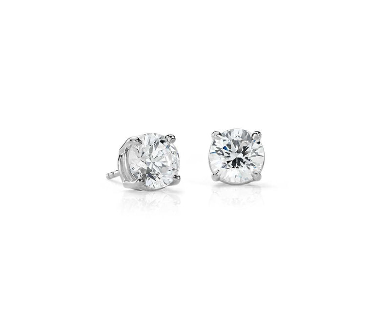 Diamond Stud Earrings - Round 14k White Gold (.25ct - 4ct tw)