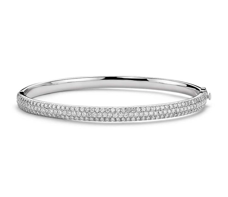 Diamond Bracelet - Bangle Round Three Row 14k White Gold (3 ct tw)