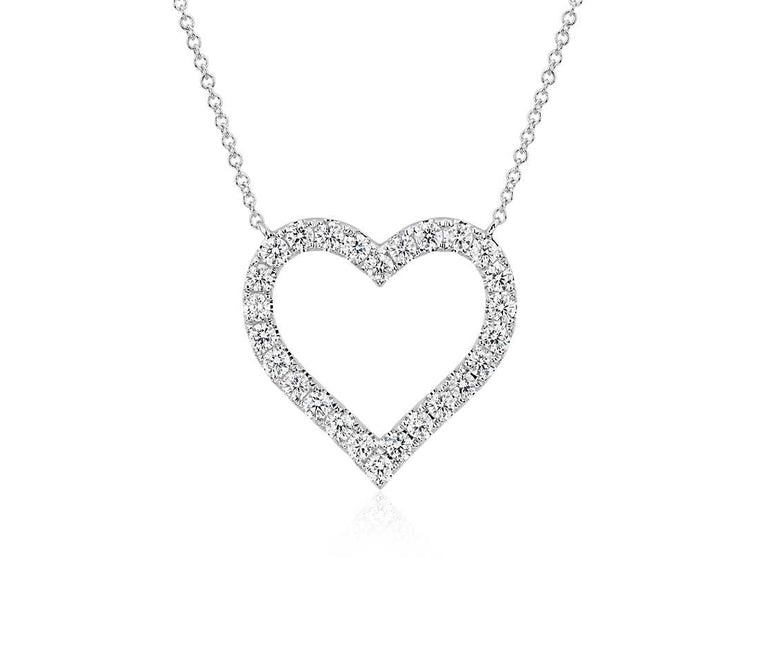 Diamond Pendant Heart - 14K White Gold (1 ct tw)