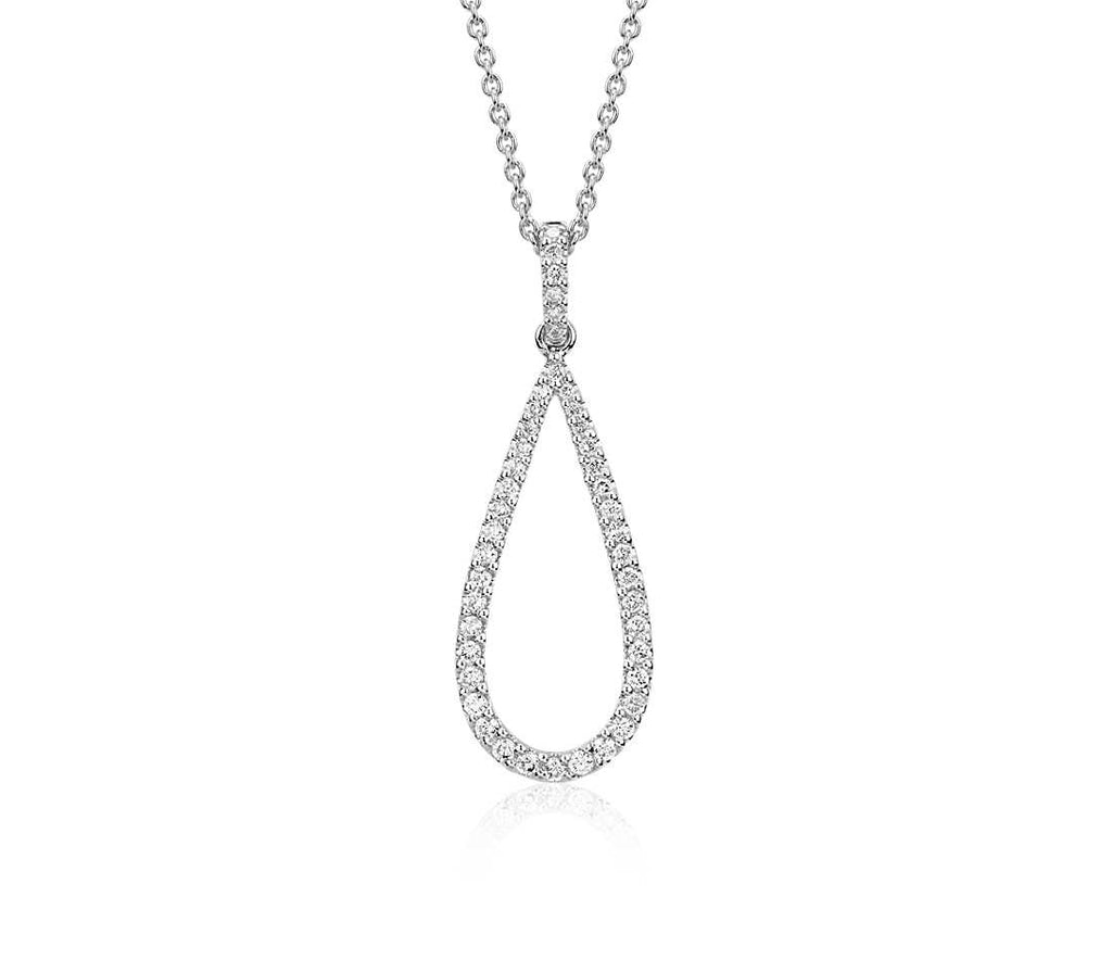 Diamond Pendant Teardrop  - 14k White Gold (1/3 ct tw)