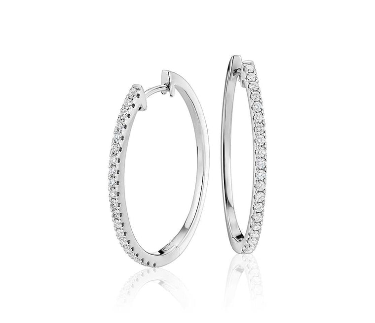 Classic Diamond Hoops - Oval (1 ct tw)