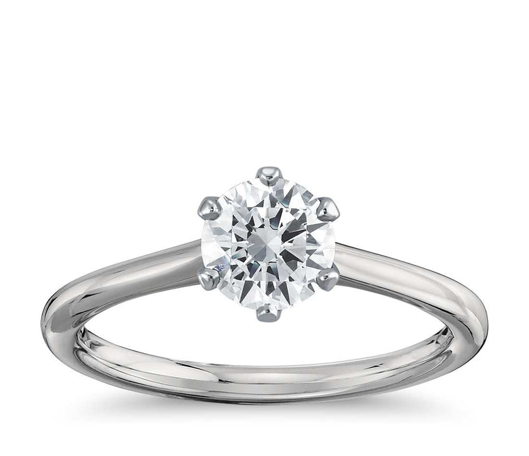 Solitaire Engagement Ring - Thin Six-Prong Round