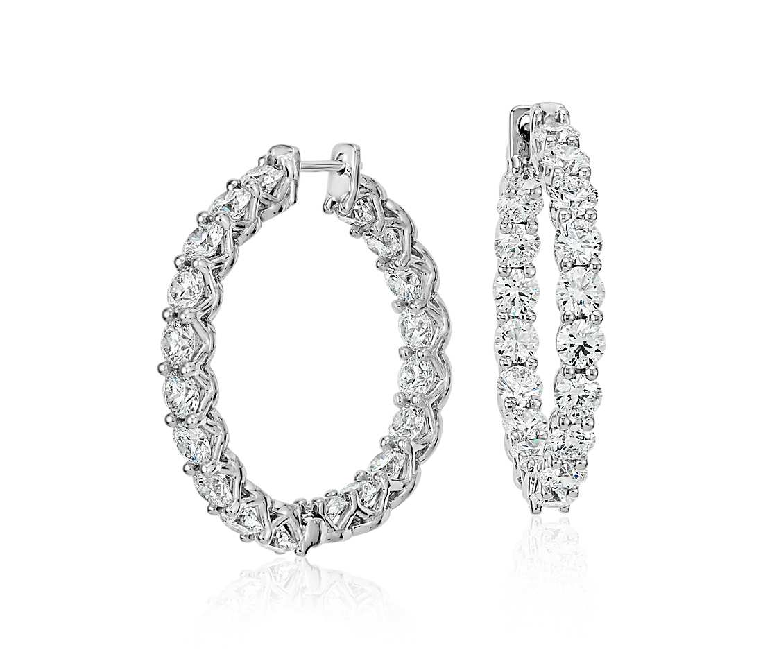 Classic Diamond Hoops - Round (8 ct tw)