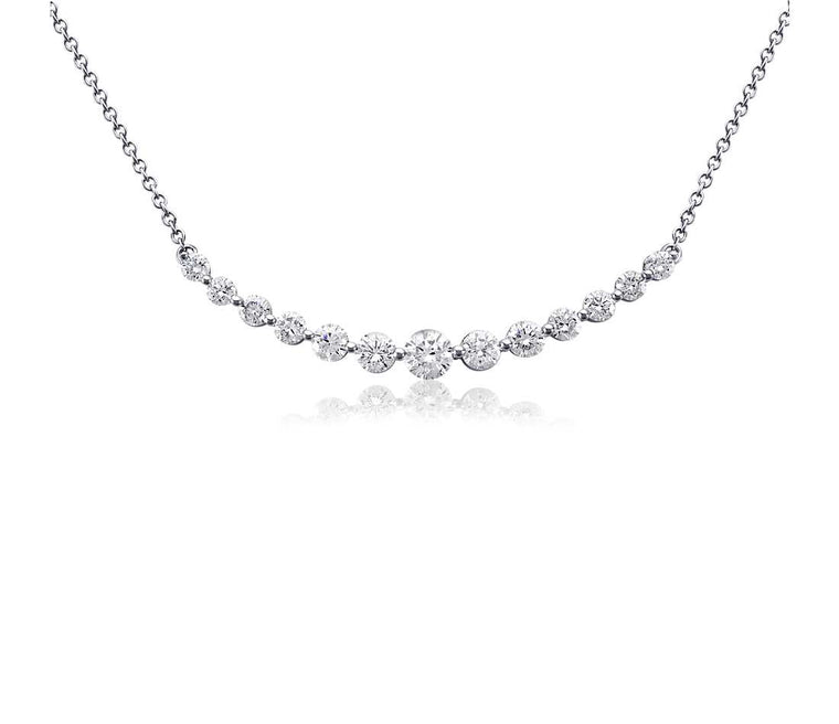 Diamond Pendant Bar - 14k White Gold (3 ct tw)