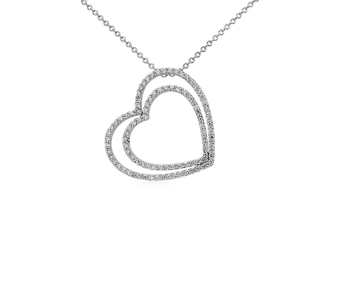 Diamond Pendant Double Heart - 14k White Gold