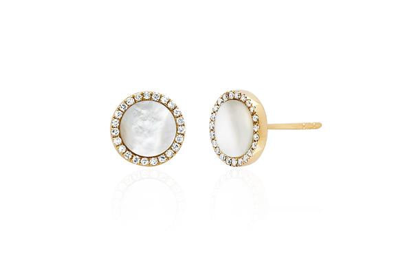 Diamond Pearl Disc Stud Earring