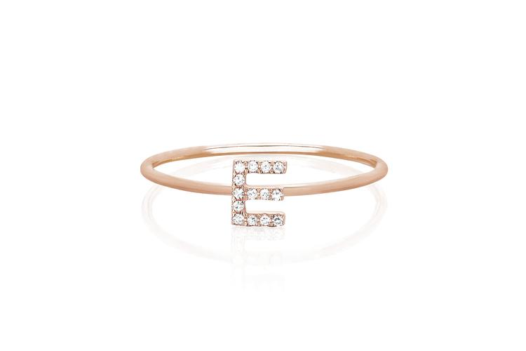 Diamond Initial Ring - Rose Gold