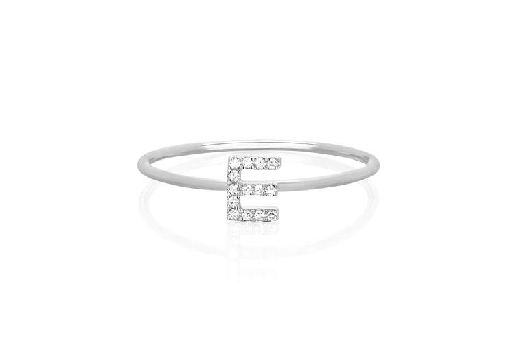 Diamond Initial Ring - White Gold