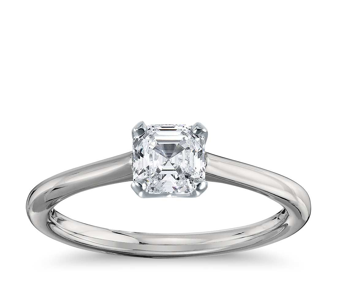 Engagement Ring - Thin Four-Prong Asscher